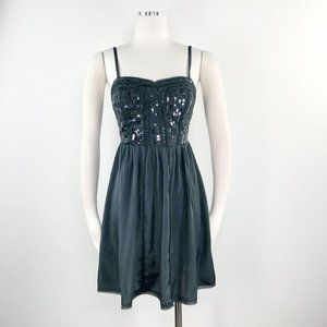 AEO 2 Grey Sequin Spaghetti Corset Pleated Dress